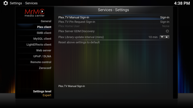 Settings.services.plex client.png